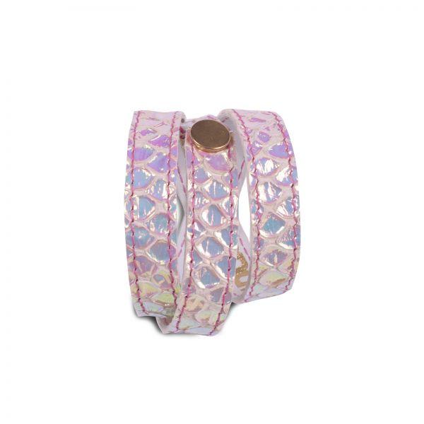 Wickelarmband | Ziegenleder in Schlangenimitat | handgemacht von DONATA | regenbogenfarben