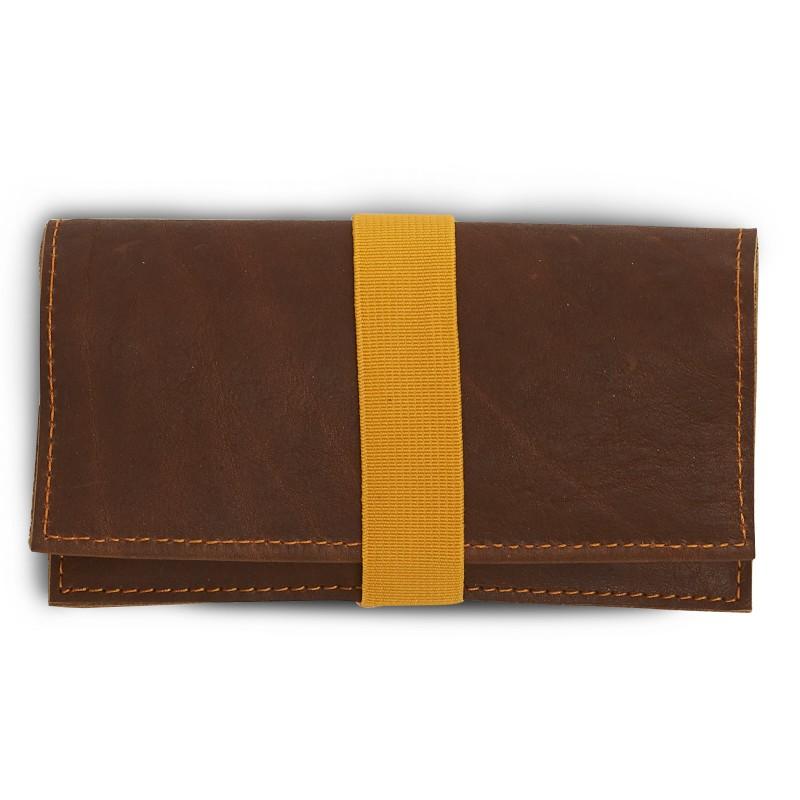 Tabakbeutel, Rindsleder, handgemacht von DONATA, Farbe: braun, Größe: 30g, Blättchenfach: 50 und 100 Stück