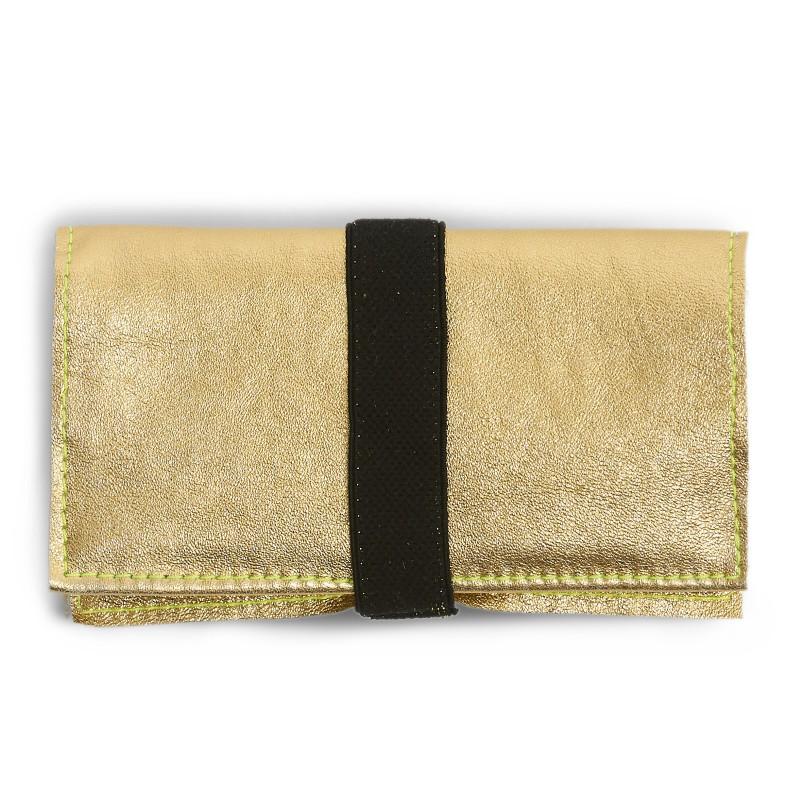 Tobacco Bag aus Leder in gold für Tabakbeutel 30g, Verschluss Gummiband