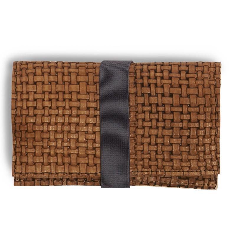 Tobacco Bag aus Leder in cognac geflochten für Tabakbeutel 30g, Verschluss Gummiband