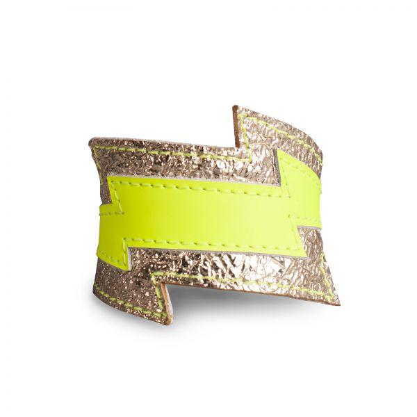 BRACELET FLASH, Lederarmband in Blitzform in Gold und Neongelb