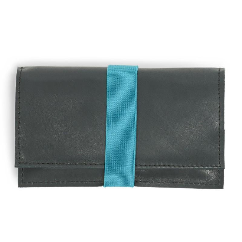 Tobacco Bag aus Leder in dunkelblau für Tabakbeutel 30g, Verschluss Gummiband