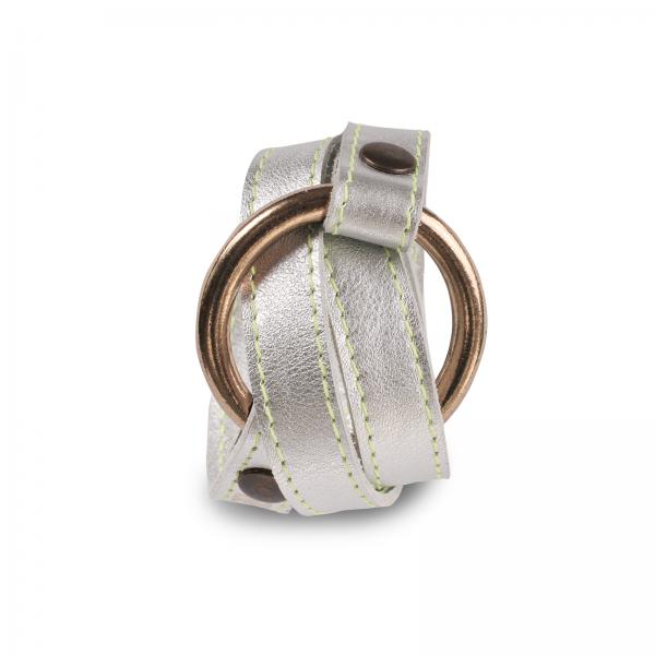 Wickelarmband mit Ring   Kalbsleder   handgemacht von DONATA   silber