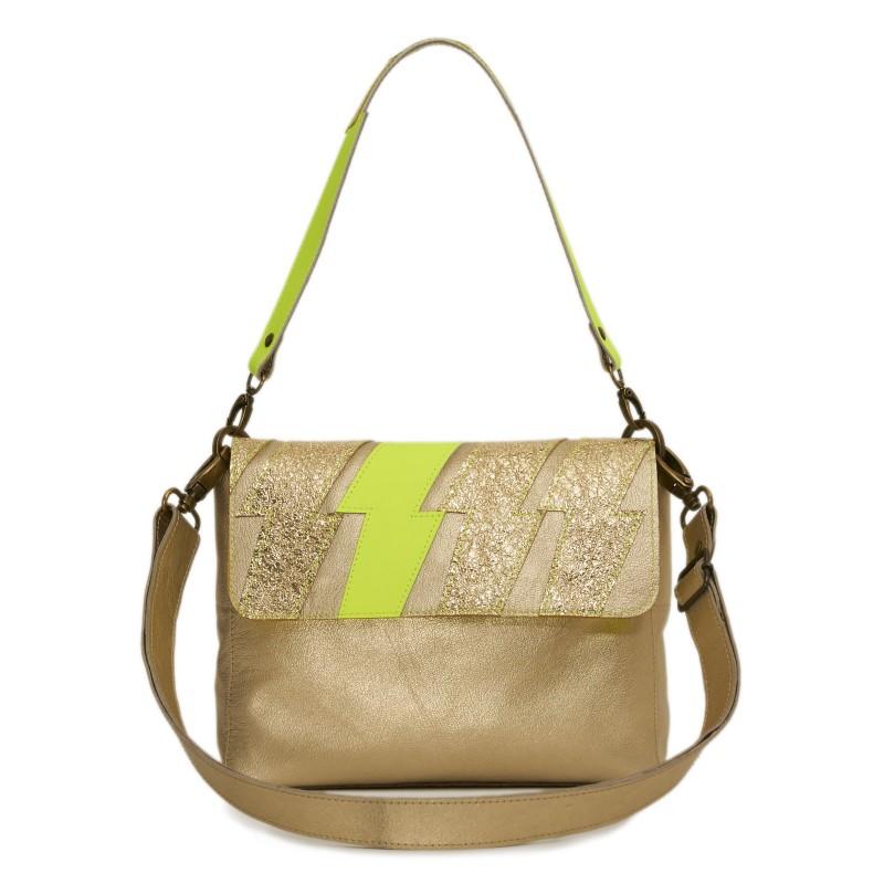 Handtasche, Leder, gold und neon, zwei Gurtbänder für die Schulter, oder zum Umhängen, CROSSBODY BAG - gold neon - TESS
