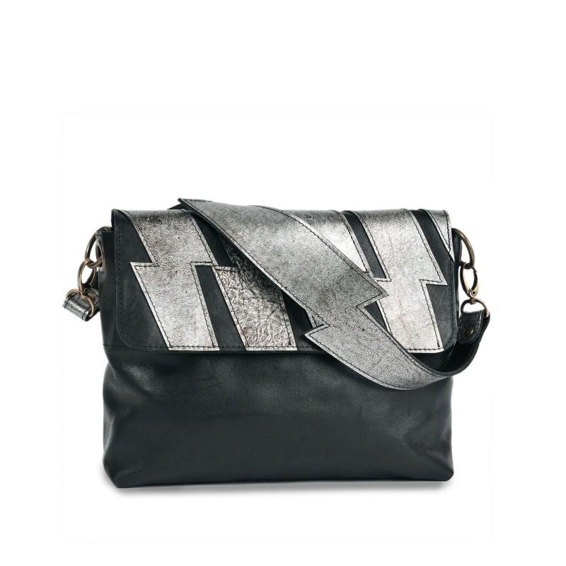 Handtasche - TESS | handgemacht | Kalbsleder | schwarz & silber | UNIKAT