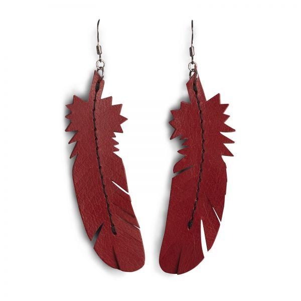 EARRING FEATHER, Ohrring aus Leder in Rot, mit 925 Silber Ohrhaken und schwarzen Faden