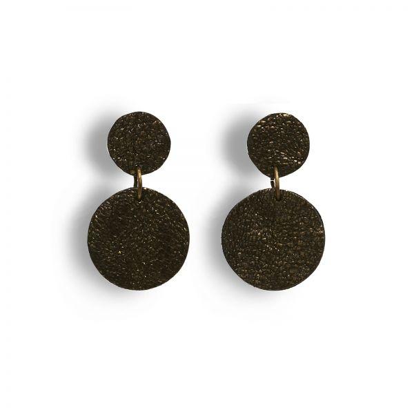 EARRING DOTS, Ohrringe aus Lederscheiben klein, schwarz gold schimmernd, mit Edelstahlstecker
