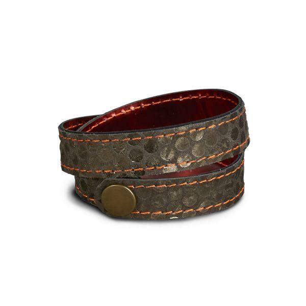 WRAP BRACELET,  Lederarmband zum Wickeln in antrazith und metallic rot, Druckknopf Altmessing