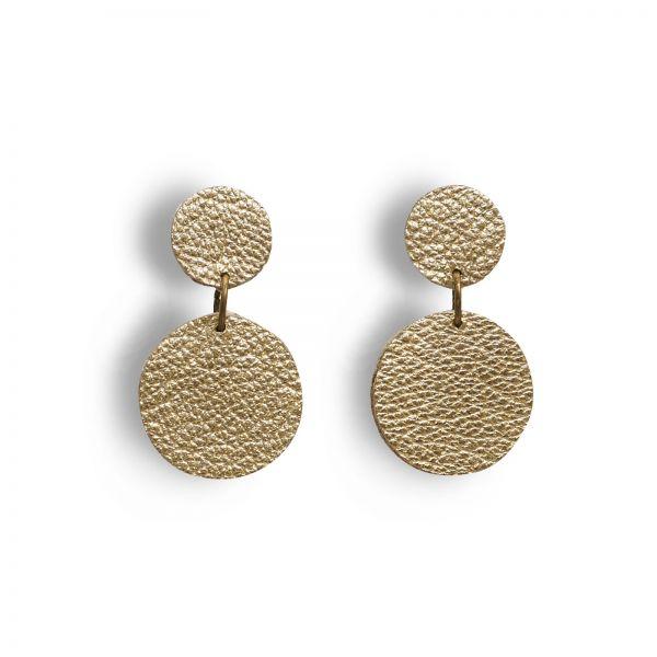 EARRING DOTS, Ohrringe aus Lederscheiben, klein, gold matt mit Edelstahlstecker