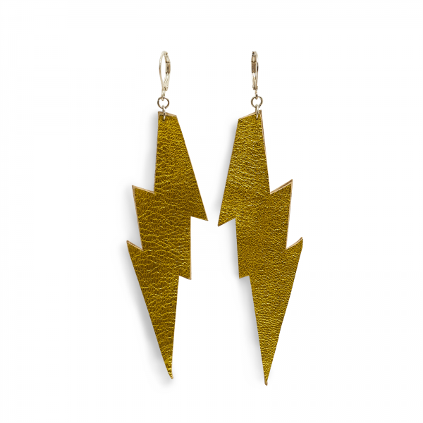EARRING FLASH, Ohrringe in Blitzform aus Leder, zweifarbig, vorne sonnengelb metallic, hinten neon matt oder gold glänzend