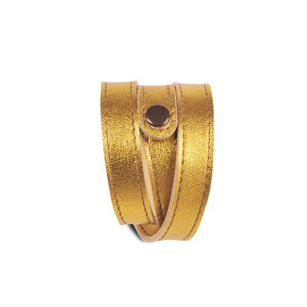 Wickelarmband   Ziegenleder   handgemacht von DONATA   gold gelb