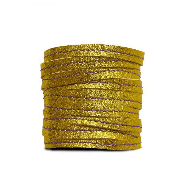 BANGLES, Lederarmband in Sonnengelb metallic mit lila Faden