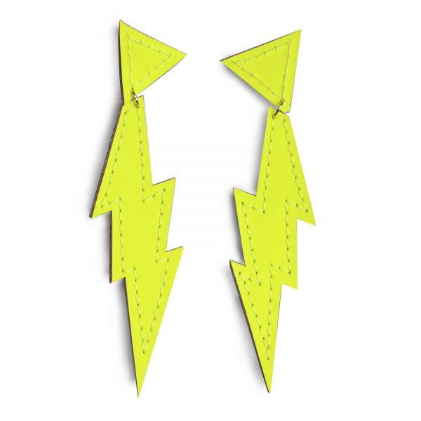 EARRING FLASH FIX, Ohrringe in Blitzform, aus Leder neongelb matt, mit Ohrstecker Edelstahl
