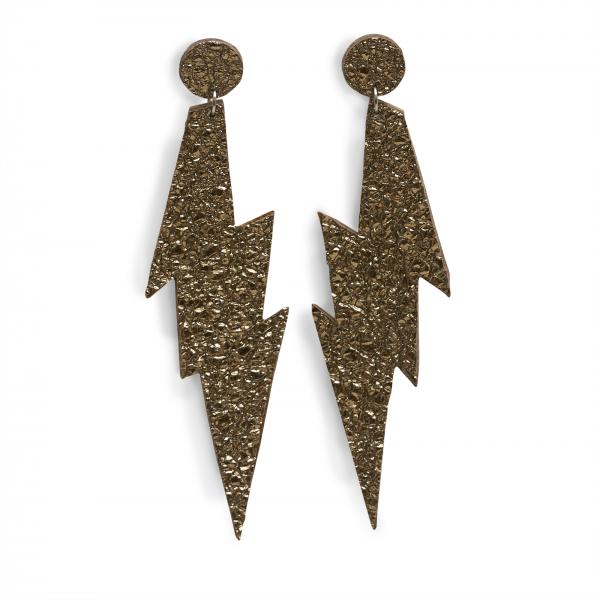 EARRING FLASH FIX, Ohrringe handgemacht aus Leder in Blitzform in schwarz silber, mit Edelstahlstecker