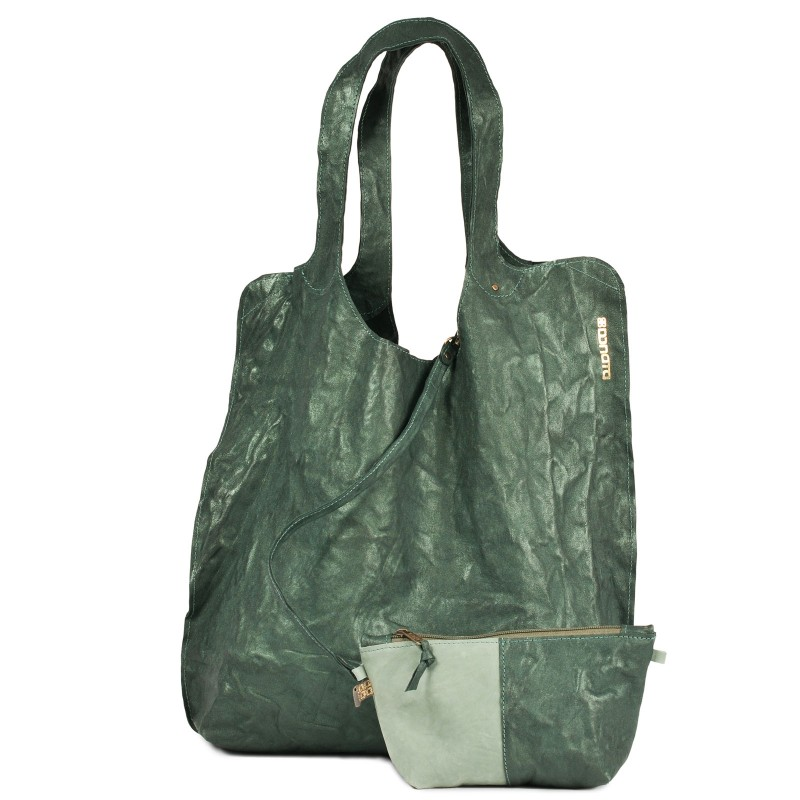 Einkaufstasche - CÉCILE | handgemacht von DONATA | Ziegenleder | fir green | UNIKAT